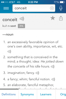 "Definitions of ""conceit"""